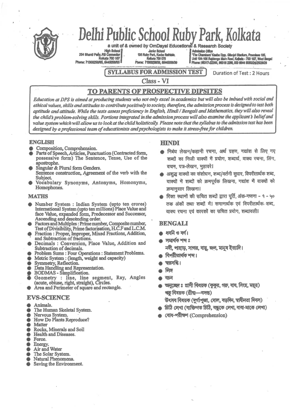 Syllabus for Assessment | Delhi Public School Ruby Park,Kolkata
